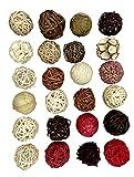 Genérico Lote 24 Bolas ratán de 6cm para decoración, Colores Diferentes