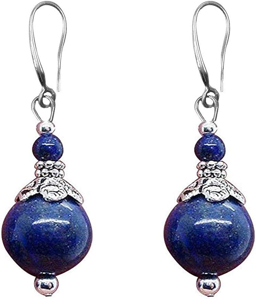 Double Lapis Lazuli Drop Earrings Natural Stone Round Bead Dangle Earrings for Women Fashion Jewelry Gift