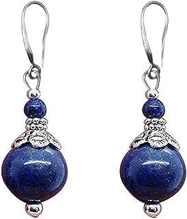 Double Lapis Lazuli Drop Earrings Natural Stone Round Bead Dangle Earrings for Women Fashion Jewelry Gift¡