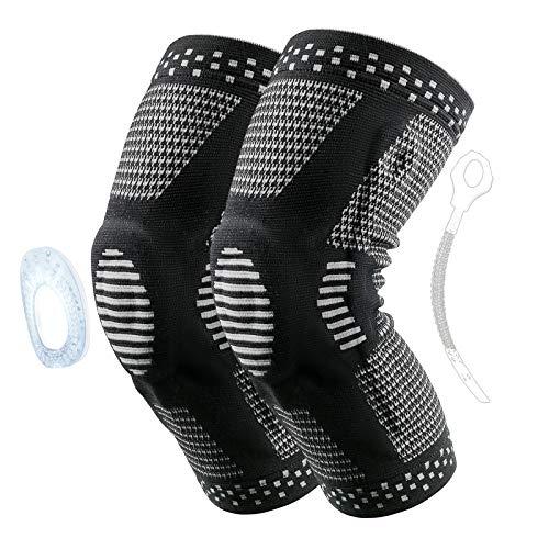 2Pcs Kniebandage Sport mit Silikon, Rutschfeste Bandage Knie mit Federstütze, Meniskus Knee Support, Knie Stabilisator für Fußball, Basketball, Radfahren, Joggen, Fitness, Laufen (XL, Schwarz)
