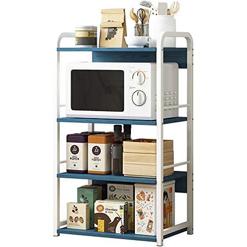 Owenqian Küchenregal Metallrahmen Küche Bäcker Rack-Utility Storage Shelf 4-Tier-Regal Einfache Montage Küchenregal Ordnungsregal (Color : Blue, Size : Free Size)