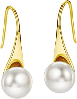 Freshwater Pearl Earrings Dangle Drop Sterling Silver Earrings 8-9mm Cultured Pearl Fine Jewelry for Women Girls