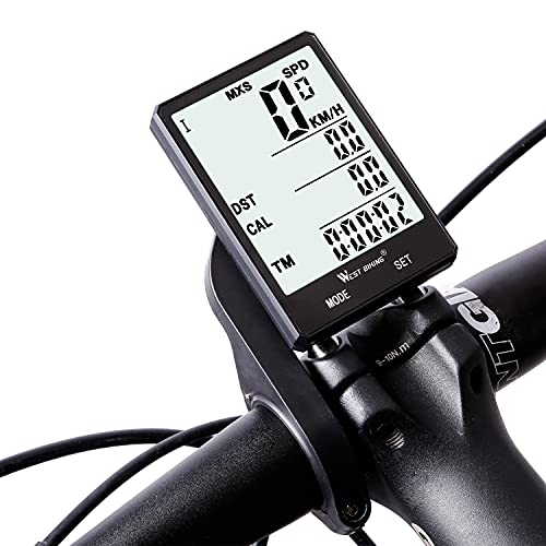 Fahrradcomputer Kabellos mit Hintergrundbeleuchtung, Fahrrad Tachometer geeignet für Zwei Fahrräder, 2.8 Zoll großer Bildschirm Fahrrad Tacho Kilometerzähler, wasserdichte Radcomputer