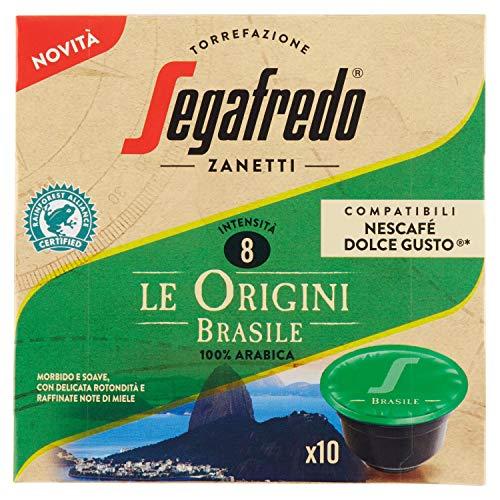 Segafredo - 10 Dolce Gusto Compatible Capsules, Le Origini Brazil Line, Soft and Soave - 1 Pack of 10 Capsules