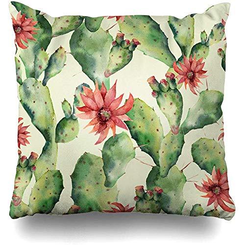 KerClara-weiwin-kussenslopen Kussensloop Cactus Aquarel Cactussen Bloemen Patttern Hand Tequila Natuur Groen Patroon Plant Blossom Ontwerp Huisdecoratie Kussensloop