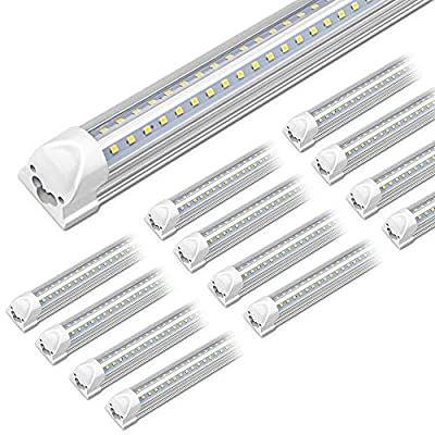 Kihung 8ft LED Shop Light Fixture, 96'' T8 Integrated LED Tube, 8 Foot Linkable LED Bulbs for Garage, Warehouse, V Shape, 75W, 9000lm, 6000K, 8' LED Strip, Clear Lens, Hardwired Installation, 12-Pack