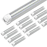 Kihung 8FT LED Light Tube, T8, V Shape, 65W, 8000lm, 5000K (Super Bright White), led Shop Light Tube 8'', Fa8 Single Pin Tube Light, 20-Pack