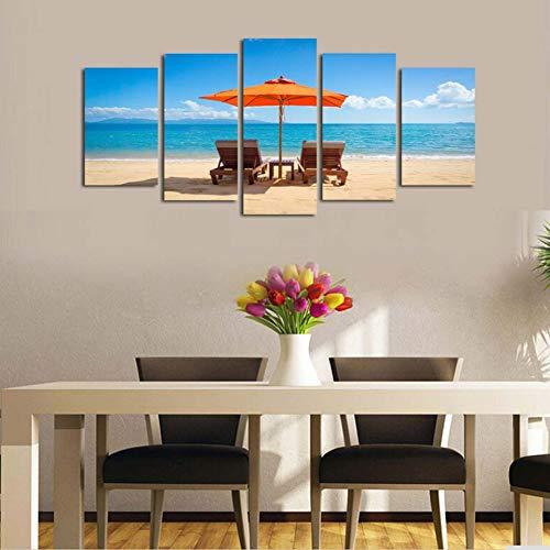 GIAOGE Schilderij Wandkunst Moderne Hd Prints Afbeeldingen 5 stuks blauwe hemel strand seascape zonnescherm ligstoel schilderij modulaire canvas voor wooncultuur Frame 30x50 30x70 30x80cm