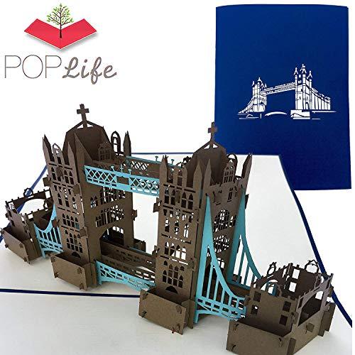 PopLife Cards London Tower Bridge 3d Pop-up-Grußkarte für alle Gelegenheiten - Großbritannien Reisende, Architektur und Geschichte Liebhaber - Falten flach - Geburtstag, Muttertag, Abschluss, Ruhesta