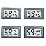 4ミニデジタル温度湿度計屋内温度計湿度計液晶ディスプレイ用ヒュル車温室インジケータルーム - 摂氏℃ディスプレイ