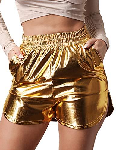 Women's Shiny Metallic Shorts Summer Yoga High Waist Hot Shorts Gold L