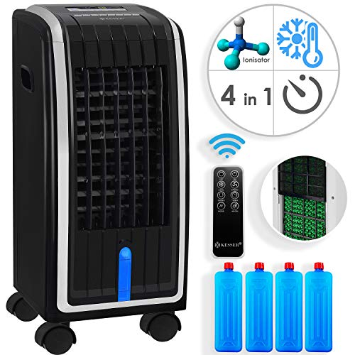 KESSER® 4in1 Mobile Klimaanlage | Fernbedienung | Klimagerät | Ventilator Klimaanlage | 7 L Tank | Timer | 3 Stufen | Ionisator Luftbefeuchter | Luftkühler | Schwarz/Silber