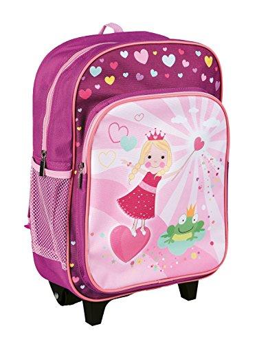 Idena 22047 - Rucksack Trolley mit 2 Rollen für Kinder, pink mit Prinzessinnen Motiv, als Handgepäckskoffer, Schultrolley und Kinderrucksack, ca. 40 x 28 x 17 cm