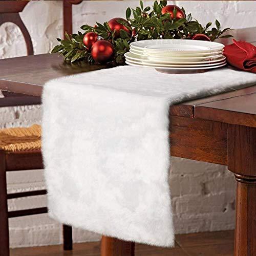 Camino de mesa de piel blanca, 14 x 178 cm, diseño de Navidad, color blanco nevado