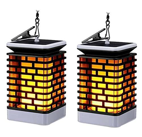 ZHMIAO Juego de 2 lámparas solares de llama para jardín, farolillos colgantes, luz solar, impermeable, paisaje, decoración de Navidad, para patio, camino de entrada al aire libre