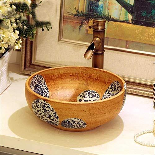 CBCJU Einzigartige orientalische Hand maded Keramik Porzellan Waschbecken mit Arbeitsplatte Durchmesser41 * High15CM A