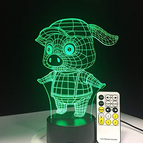 jiushixw 3D acryl nachtlampje met afstandsbediening kleur veranderende lamp creatieve cadeau kind cadeau schattige varken paars glas tafellamp