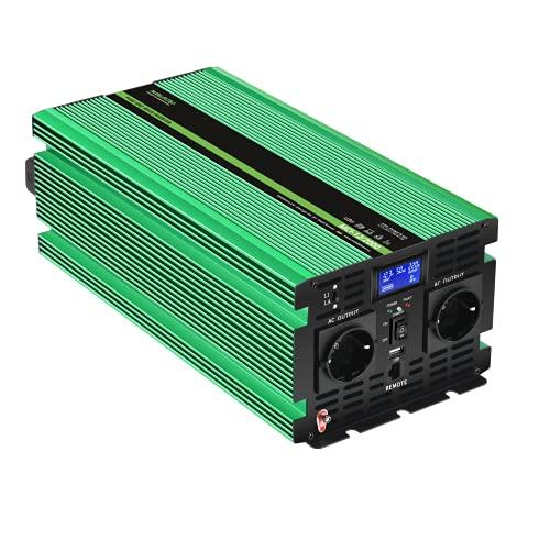 MOBILEKTRO® 2000W Reiner Sinus Wechselrichter 12V auf 230V MCI-12/2000 Spannungswandler mit integriertem 20A Ladegerät mit NVS- und USV-Funktion Inverter Konverter incl. Fernsteuerung und LCD-Anzeige