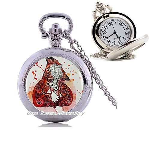 Ni36uo0qitian0ozaap Collar de reloj de bolsillo de plata con colgante de Fox with Her para mujer, accesorios de vestir de cristal, joyería de cúpula, TAP202
