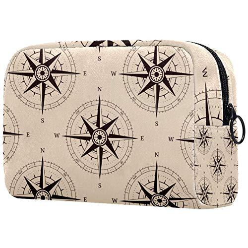 Reise Make Up Tasche Portable Kosmetiktasche Schmuckkästchen Damen schmuckaufbewahrung für Kosmetika Make-up Pinsel Ringe Ohrringe Halsketten Kompass 18.5x7.5x13cm