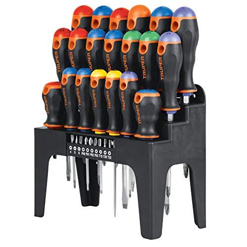 Truper SET-30X, Juego de 20 desarmadores y 10 puntas, en organizador plástico