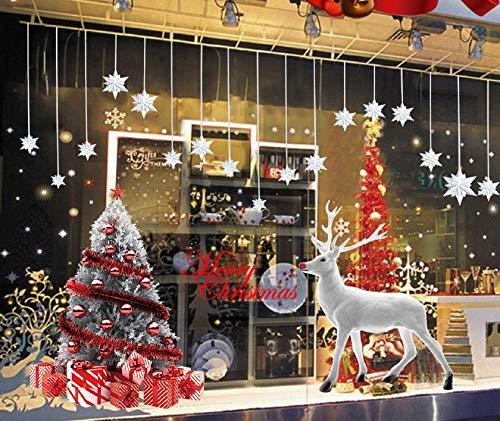 decorazioni natalizie negozi Tuopuda Natale Vetrofanie Rimovibile Addobbi Grande Albero di Natale Bianco Alce Adesivi Natalizi Buon Natale Decorativi per Vetrine Negozi Casa Vetro Porta Ingresso Vetri