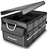Knodel Robuster Kofferraumtasche mit klappbarem Deckel, hochstandfestem Faltbehälter, tragbarem multifunktionellem Lagerplatz und Gepäckgestell, wasserdicht (grau)