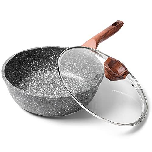 ilimiti 24cm con tapa Sartén honda, Sartén antiadherente 24cm con tapa , Apta para todo tipo de cocinas incluida inducción