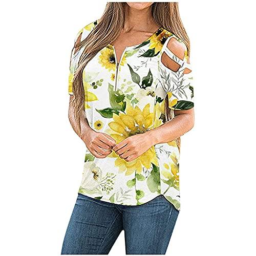 Routinfly Y2K Camiseta de manga corta para mujer, estilo vintage, ropa de calle, deportiva, de manga corta, para verano, impresión de tirantes, hombros fríos, blusa, Mujer, amarillo, large