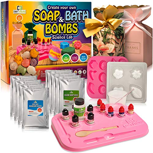 Soap and Bath Bomb Making Kit for Kids - DIY Soap, Bath Bombs and Bath Scrubs for Kids, Girls, and Boys - Fun Arts and Science Lab Kit Supplies by Craft Evolved