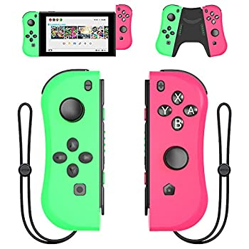 Joy Con Controller Replacement Campatiable for Nintendo Switch - Left and Right Neon Joycon Pad with Wrist Strap Alternatives for Nintendo Switch Controllers Wired/Wireless L/R Switch Remotes