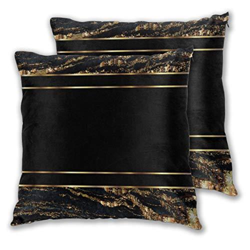 Juego de 2 fundas de cojín con diseño de mármol dorado y negro