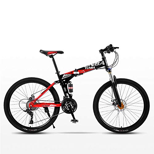 %23 OFF! CCONE Folding Mountain Bike 24 Inch,21 24 27 30 Speed Disc Bicycle Full Suspension MTB Bikes for Adult Student Teens Flagship1 21 Gears