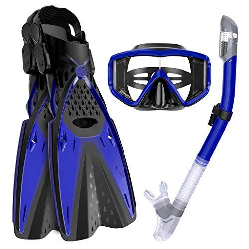 HHT Snorkel Set - Top Completamente seco Snorkel con silicio Boca, Templado máscara de Buceo de Vidrio Resistente a los Impactos, Dos máscaras Descalzos, Snorkel y Aletas/PVC Aleta,Azul,S/M