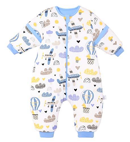 FEOYA - Saco de dormir para bebé con pies, para invierno, con piernas, para niños y niñas, para todo el año, con mangas desmontables, para dormir con pies, para bebé, niña, para verano, 9-18 m