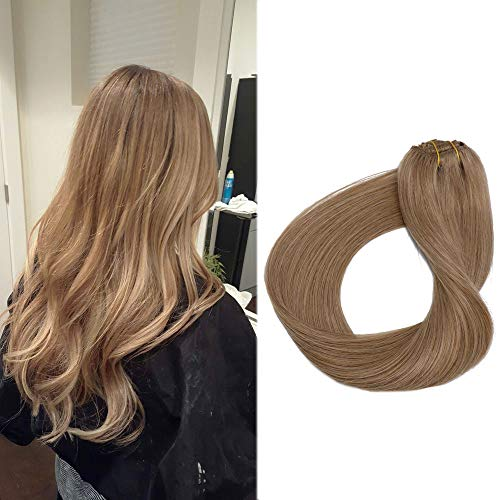 Clip in Hair Extensions Real Human Hair 70grams 7pcs Light Golden Brown 15 Inch Remy Hair Extensions Clip ins/on for Full Head, Color #12