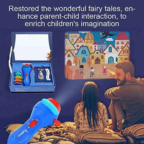 Zerodis Tragbare Hand LED Projektor Taschenlampe Licht Geschichte Taschenlampe Projektor Bett Geschichte Spielzeug pädagogisches Spielzeug für Kinder Jungen und Mädchen