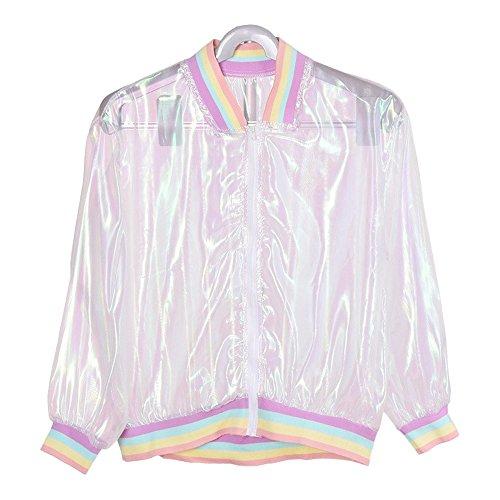 HuntGold Damen UV-Schutzjacke, modisch, schillernd, sonnenfest, durchsichtig, holografischer Mantel