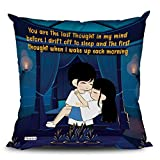 ODDCLICK You are The Last Thought in My Mind Love Quotes Couples Pillow Cushion with Filler for Girlfriend Boyfriend Valentine Day Anniversary Gift
