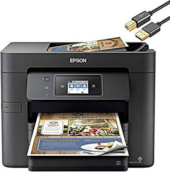 Epson Workforce Pro WF 3000 Series Wireless All-in-One Color Inkjet Printer - Print Scan Copy Fax - Voice-Activated 20 ppm Auto 2-Sided 500-Sheet 35-Sheet ADF Ethernet - ORPHYER Printer Cable
