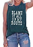 Blame it All On My Roots Tank Tops for Women Letter Print Shirt Country Music Casual Shirts (Dark Green, Large)