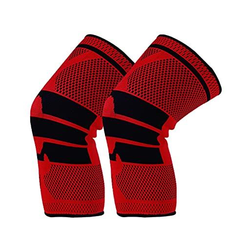 asx Rodilleras para mujer, 1 par de rodilleras deportivas, de silicona, de primavera, para baloncesto, correr, rodillera, danza, rótulas tácticas, para bebé, antideslizante, color rojo, talla L: