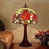 XYAN Moda tradicional nobles artes de 16 pulgadas Tiffany romántico Lily tabla del escritorio de la lámpara europea Pastoral dormitorio mesita de noche de la lámpara de la lámpara lámpara de mesa de n