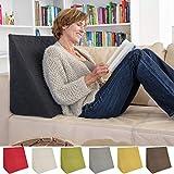 Sabeatex Rückenkissen, Keilkissen für Couch und Sofa, Lesekissen für bequemes Sitzen. 5 Unifarben für trendiges Wohndesign. Louge-oder Palettenkissen Größe 60 cm x 50 cm x 30 cm (schwarz)