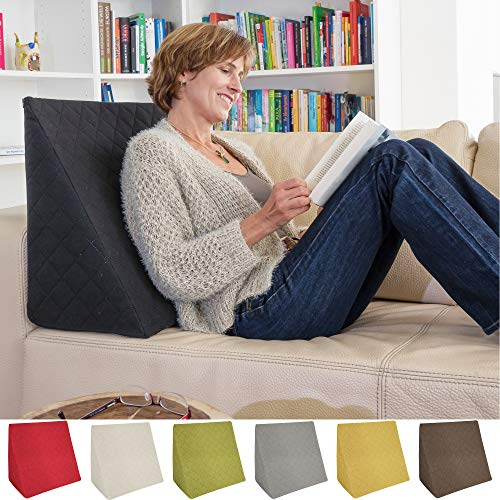 Sabeatex® Rückenkissen, Keilkissen für Couch und Sofa, Lesekissen für bequemes Sitzen. 5 Unifarben für trendiges Wohndesign. Louge-oder Palettenkissen Größe 60 cm x 50 cm x 30 cm (schwarz)