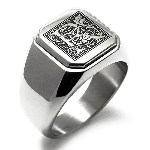 Stainless Steel Letter R Alphabet Initial Floral Box Monogram Square Flat Top Biker Style Polished Ring, Size 10.5