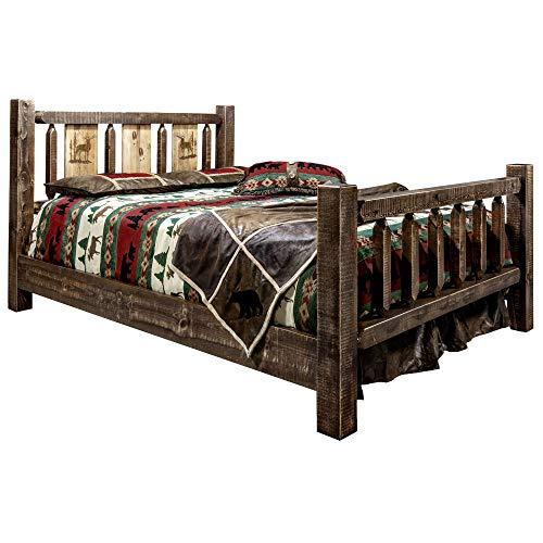 Best Bargain Montana Woodworks Homestead Collection King Bed w/Laser Engraved Elk Design, Stain & Cl...
