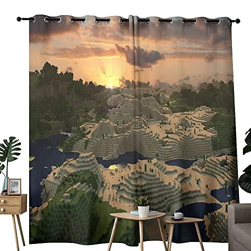 Panel de cortina de ventana para oscurecer la habitación, videojuego Minecraft, arte escena utilizado en la sala de estar para mejorar el dormitorio de la junta de 72 x 96 pulgadas