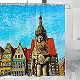 Alemania Roland Estatua Bremen Cortina de ducha Viaje Decoración de baño Set con ganchos Poliéster 72x72 pulgadas (YL-02536)
