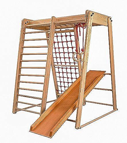 Todo en alta calidad y bajo precio. Centro de actividades actividades actividades con tobogán  Malcek-3 , rojo de escalada, anillos, escalera sueco, campo de juego infantil, Juguetes  60% de descuento